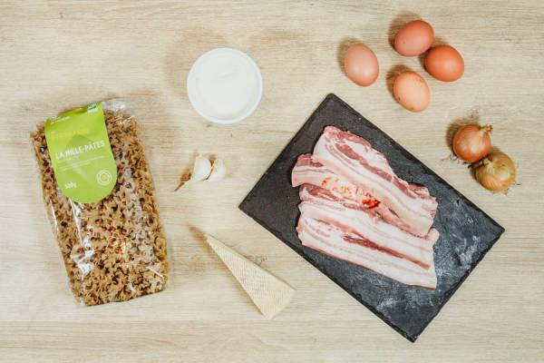 meal kit photo Kit pasta carbonara en gratin 1 - La Ruche qui dit Oui ! à la maison