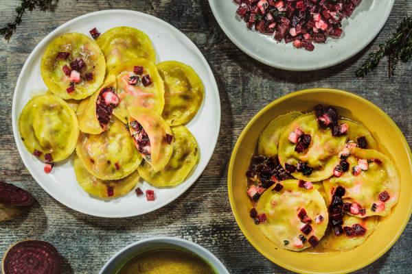 meal kit photo Ravioles fraîches betterave-chèvre 1 - La Ruche qui dit Oui ! à la maison