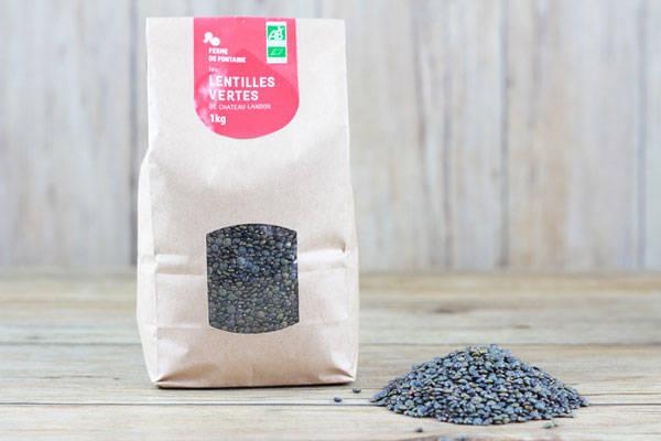 Lentilles vertes BIO (1kg) - Ferme de Fontaine