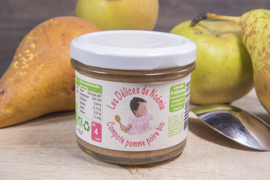 Compote pomme poire Bébé BIO - Les Délices de Noémie - La Ruche qui dit Oui ! à la maison