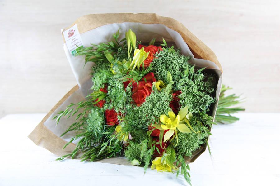 Bouquet émotion jaune-orange BIO - Fleurs de Cocagne - La Ruche qui dit Oui ! à la maison