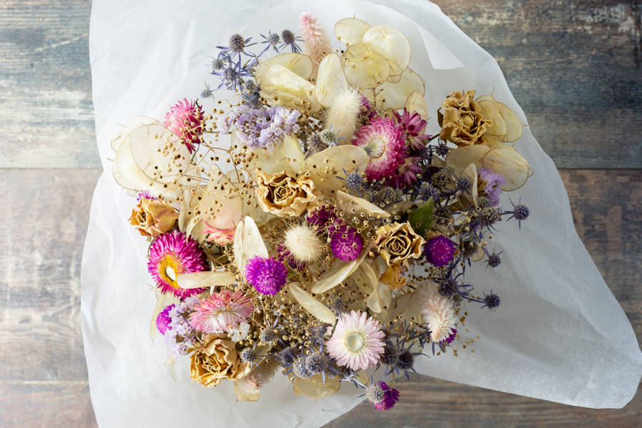 Bouquet de fleurs séchées - Couleurs romantiques - Fleurs de Cocagne - La Ruche qui dit Oui ! à la maison