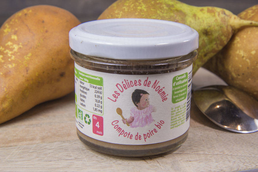 Compote de poire Bébé BIO - Les Délices de Noémie - La Ruche qui dit Oui ! à la maison