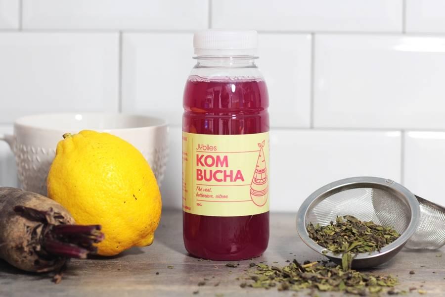 Kombucha thé vert, betterave, citron - 25cl - Jubiles - La Ruche qui dit Oui ! à la maison