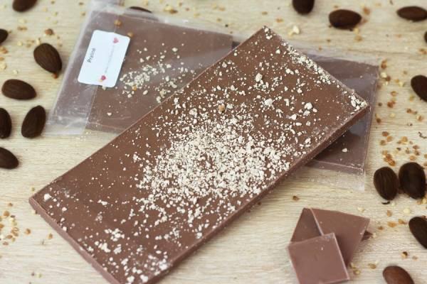 Chocolat Lait praliné BIO - Coeur de Choc - Le Comptoir Local