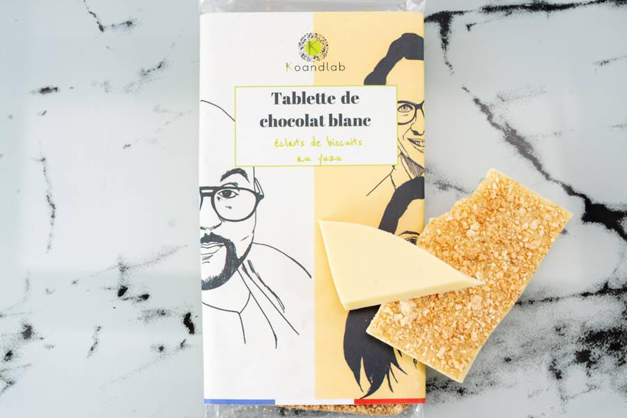 Tablette de chocolat blanc Eclats de biscuit au Yuzu - KoandLab - La Ruche qui dit Oui ! à la maison