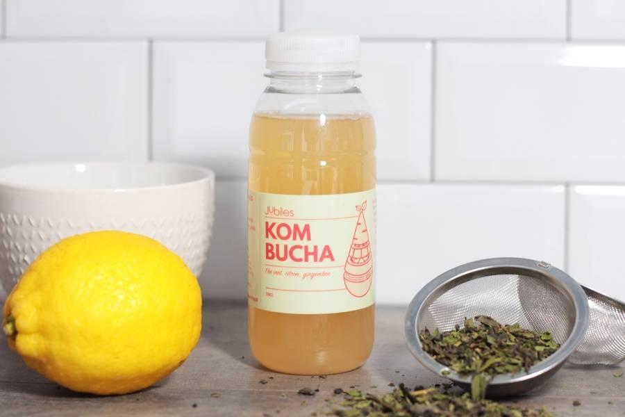 Kombucha thé vert, citron , gingembre - 25cl - Jubiles - La Ruche qui dit Oui ! à la maison