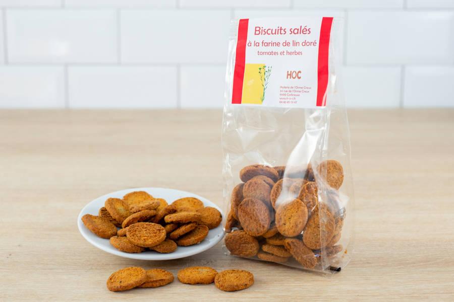 Biscuits salés à la farine de lin doré, tomates et herbes de provence - Huilerie de l'Orme Creux - La Ruche qui dit Oui ! à la maison