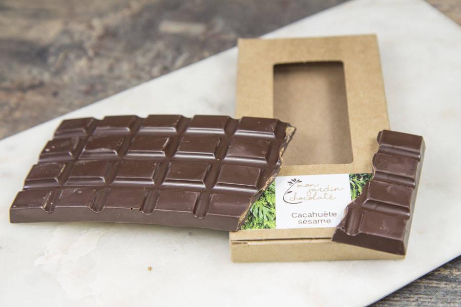 Tablette pralinée (cacahuète,sésame) - Mon Jardin Chocolaté - La Ruche qui dit Oui ! à la maison