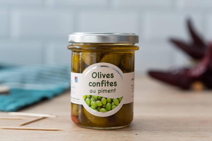 Olives confites aux piments - Les amandes du Mont Bouquet - La Ruche qui dit Oui ! à la maison
