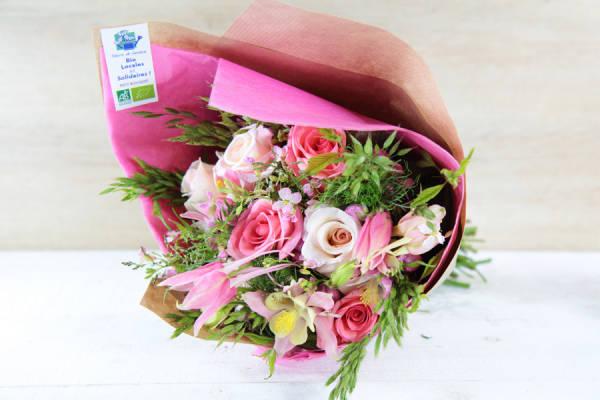 Petit bouquet rose BIO - Fleurs de Cocagne