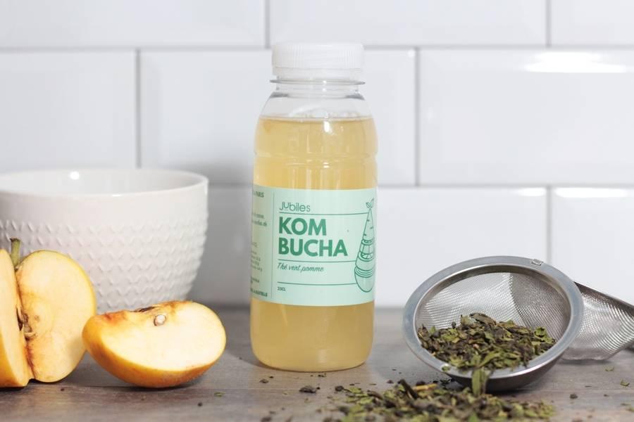 Kombucha thé vert pomme curcuma BIO - 25cl - Jubiles - La Ruche qui dit Oui ! à la maison
