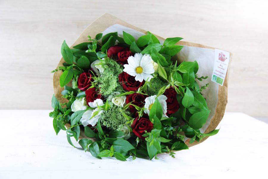 Bouquet émotion rouge et blanc BIO - Fleurs de Cocagne - La Ruche qui dit Oui ! à la maison