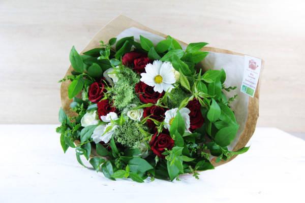 Bouquet émotion rouge et blanc BIO - Fleurs de Cocagne