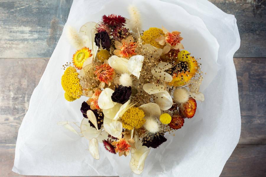 Bouquet de fleurs séchées - Couleurs automnales - Fleurs de Cocagne - La Ruche qui dit Oui ! à la maison