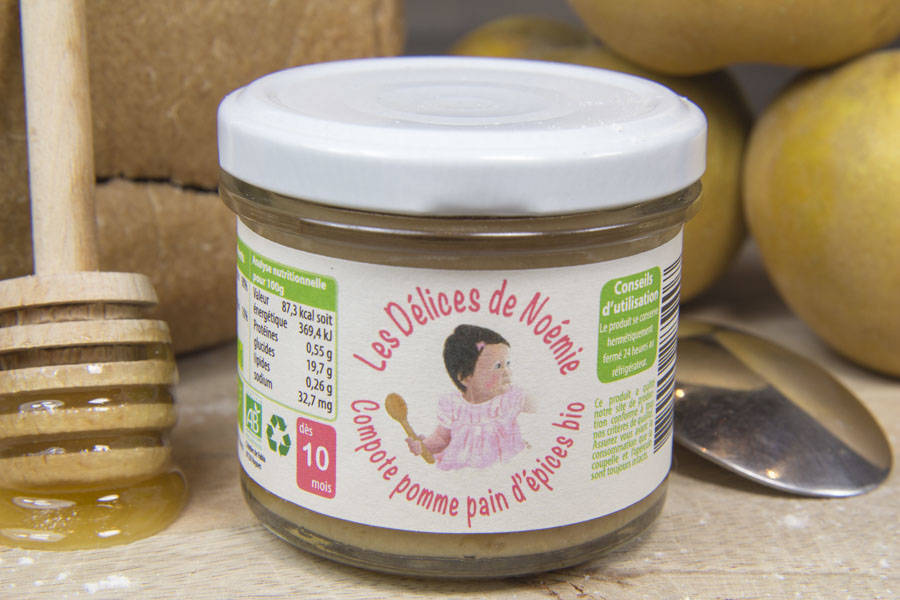 Compote pomme pain d'épices Bébé BIO - Les Délices de Noémie - La Ruche qui dit Oui ! à la maison