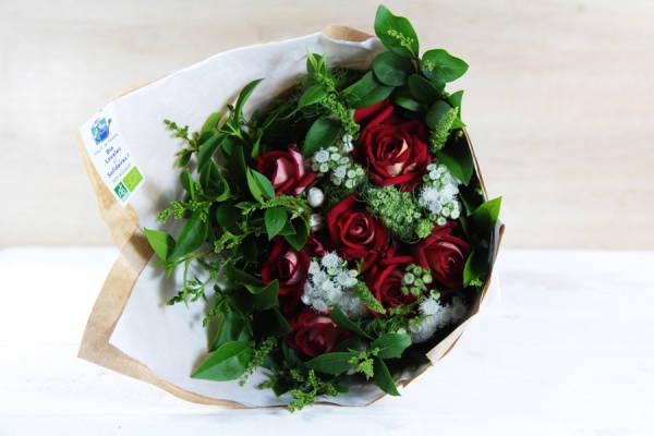 Petit bouquet rouge et blanc BIO - Fleurs de Cocagne