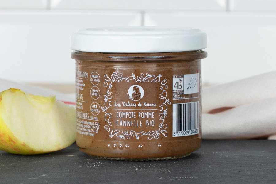 Compote pomme cannelle Bébé BIO - Les Délices de Noémie - La Ruche qui dit Oui ! à la maison
