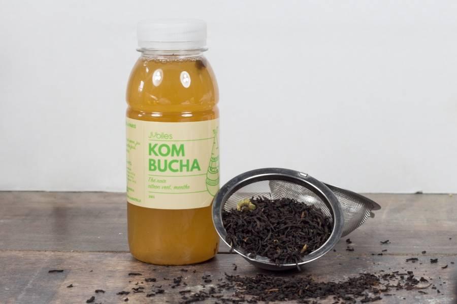Kombucha thé noir citron vert menthe - 25cl - Jubiles - La Ruche qui dit Oui ! à la maison