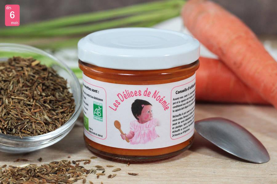 Purée fine carottes nouvelles au cumin BIO - Les Délices de Noémie - La Ruche qui dit Oui ! à la maison